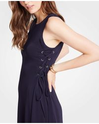Ann Taylor - Blue Petite Side Tie Knit Flare Dress - Lyst
