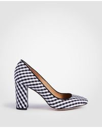 6196cbc59a0 Lyst - Ann Taylor Emeline Piped Gingham Block Heel Pumps in Black