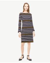 Ann Taylor - Blue Striped Knit Shift Dress - Lyst