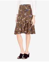 Ann Taylor - Brown Petite Floral Print Flounce Skirt - Lyst