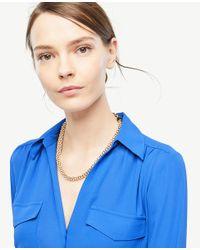 Ann Taylor - Metallic Pearlized Wrap Necklace - Lyst