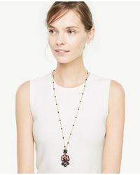 Ann Taylor - Black Embroidered Pendant - Lyst