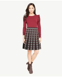 Ann Taylor - Black Petite Embroidered Pleated Skirt - Lyst