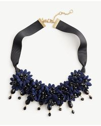 Ann Taylor - Blue Floral Fabric Statement Necklace - Lyst