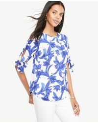 Ann Taylor - Blue Tropical Garden Tie Sleeve Top - Lyst