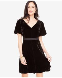 Ann Taylor - Black Petite Short Sleeve Velvet Dress - Lyst
