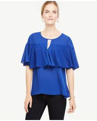 Ann Taylor - Blue Tiered Ruffle Top - Lyst