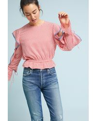 The Fifth Label - Red Juliette Ruffled Gingham Top - Lyst