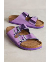Birkenstock | Purple Metallic Arizona Sandals | Lyst