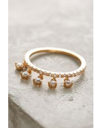Anthropologie - Metallic Crystal Dangle Ring - Lyst