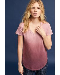 add5733c4058e Lyst - Left Of Center Dip-dyed Crew Neck Tee in Pink