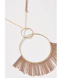 Anthropologie - Metallic Fringed Hoop Pendant Necklace - Lyst