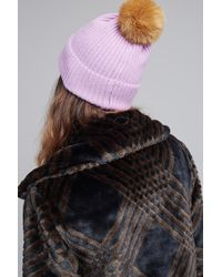 Anthropologie - Purple Wool And Cashmere 2 Pom Beanie - Lyst