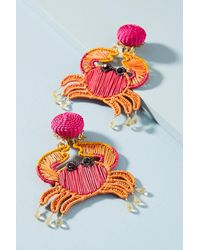 Mercedes Salazar - Red Woven Crab Drop Earrings - Lyst