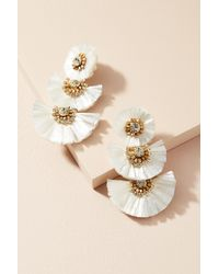 Suzanna Dai | White Raffia Palm Drop Earrings | Lyst