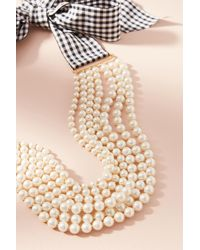Anthropologie | Blue Gingham & Pearls Layered Necklace | Lyst