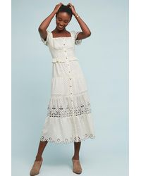 90bf12203ae4 Anthropologie Frances Embroidered-buttondown Dress in Natural - Lyst