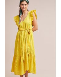 7ef0bf52bfc9 Anthropologie Golden Textured Dress in Yellow - Lyst