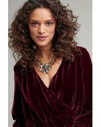 Anthropologie - Metallic Ansara Jewelled Floral Necklace - Lyst