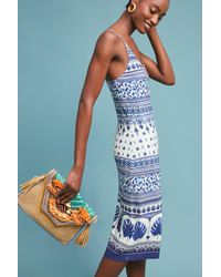 Farm Rio - Blue Tiled Slip Dress - Lyst