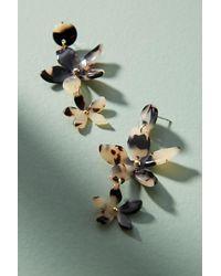 Anthropologie - Black Janina Tortoiseshell-effect Floral Drop Earrings - Lyst