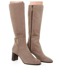 Aquatalia - Black Dahlia Half Zip Suede Knee High Boot - Lyst