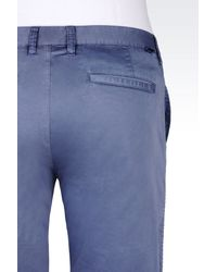 Armani Jeans | Blue Slim Fit Bermuda Shorts In Cotton Satin for Men | Lyst