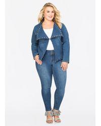 0ea403498f8 Lyst - Ashley Stewart Medium Wash Rhinestone Stud Skinny Jean in Blue