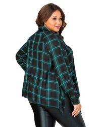 Ashley Stewart - Green Plaid Hanky Hem Shirt - Lyst