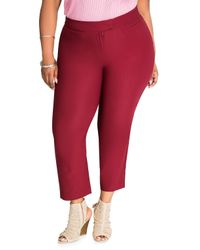 Ashley Stewart - Red Solid Deluxe Ankle Pant - Lyst