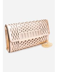 Ashley Stewart - Pink Metal Bar Laser Cut Shoulder Bag - Lyst