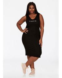 Ashley Stewart - Black Bebe Logo V Neck Tank Dress - Lyst