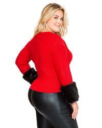 Ashley Stewart - Red Faux Fur Cuff Sweater - Lyst