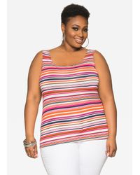 09be052bf66 Lyst - Ashley Stewart Striped Scoop Neck Cami in Red