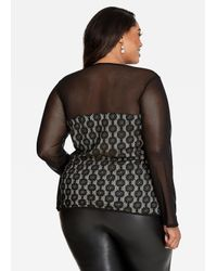 Ashley Stewart - Black Mesh And Lace Corset Style Top - Lyst