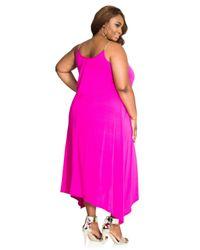 Ashley Stewart - Pink Chain Shoulder Solid Swing Dress - Lyst