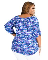 Ashley Stewart - Blue Ruffle Sleeve Watercolor Print Off Shoulder Top - Lyst