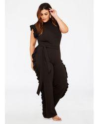 Lyst Ashley Stewart Plus Size Ruffle Side Belted Jumpsuit In Black