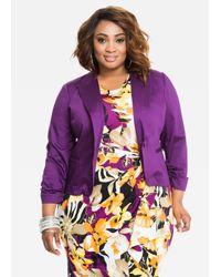 Ashley Stewart | Purple Ruched Sleeve Solid Sateen Blazer | Lyst