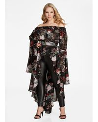 c5f9960db39 Lyst - Ashley Stewart Floral Hi Lo Smocked Duster Shirt in Black