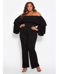 85d3b4e820466 Ashley Stewart. Women s Black Plus Size Tiered Off The Shoulder Jumpsuit