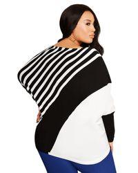 Ashley Stewart - Black Striped Dolman Sweater - Lyst