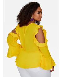 Ashley Stewart - Yellow Ruffle Cold Shoulder Peplum - Lyst