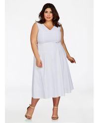 Women\'s White Plus Size Floral Crochet Inset Linen Dress