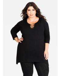 45f3216f63df51 Lyst - Ashley Stewart 3 Ring Sweater in Black