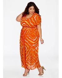 1d73ad5ab80 Ashley Stewart. Women s Orange Plus Size Smocked Waist Printed Maxi Dress