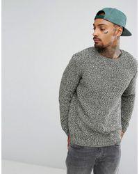 ASOS - Green Asos Textured Jumper In Khaki for Men - Lyst