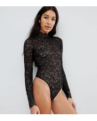 96e58bc0d9 ASOS Tall Megan High Neck Lace Body in Black - Lyst
