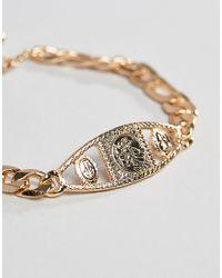 ASOS - Metallic Design Vintage Style Medallion Chain Bracelet In Gold for Men - Lyst