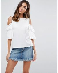 ASOS DESIGN - Pink Asos Top In Crepe With Cold Shoulder Pretty Ruffle Puff Sleeve - Lyst